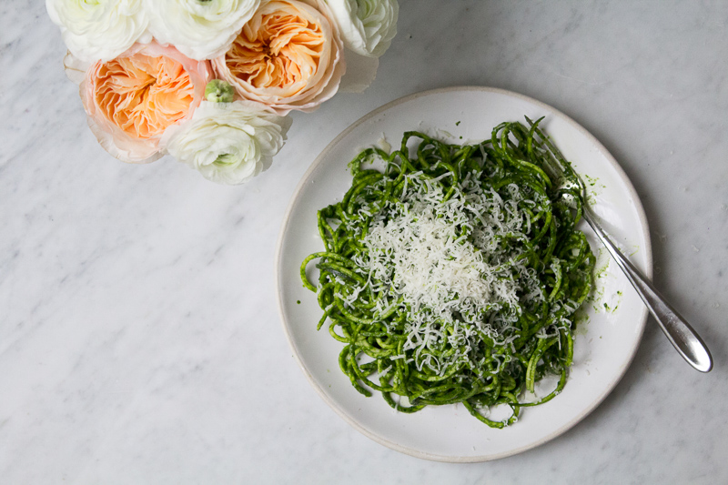 Courgetti with kale sauce, worlds most elegant courgetti